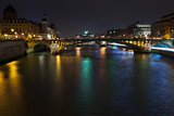 night panorama of Seine river in Paris