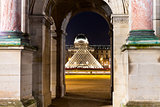 Louvre Pyramid though Arc in Paris