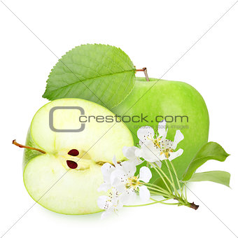 Green apples with leaf and flowers