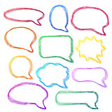 Hand-drawn, colorful speech bubbles.