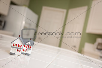 Small Model Home on Kitchen Counter of House