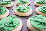 Green Shamrock Sugar Cookies