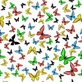 Vector illustration of beautiful seamless with colorful butterflies