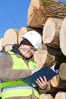 Forester writing near at the log pile