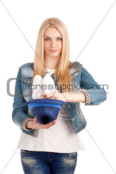 Portrait of beautiful woman doing magic.