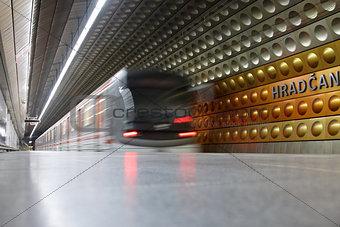 A moving underground train