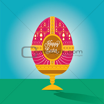 Happy easter egg illustration with font