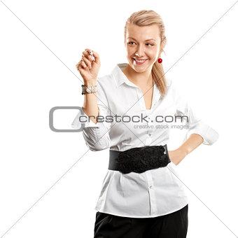 Business Woman Writing Something