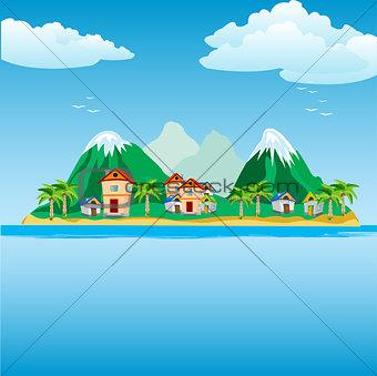 Small island in ocean