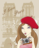 Girl with camera  in Paris