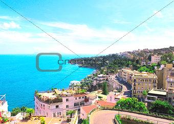 Panorama of Naples and Mediterranean sea
