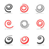 Spiral design elements set.