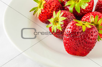 Stawberry on the white dish