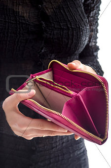 Woman holding an empty wallet