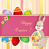 Easter greeting card with cute bunny