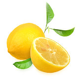 Fresh yellow lemons with green leaf