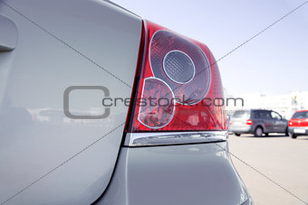 brake lights of modern gray metallic car