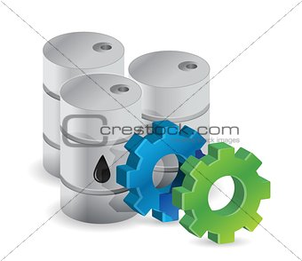oil barrels and industrial gears