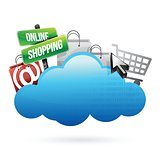 Online shopping Cloud computing concept