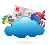 traveling Cloud computing concept