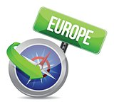 compass directed to europe