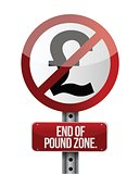 road traffic sign with a British pound zone end