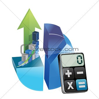 business graphs and modern calculator