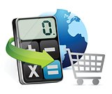 shopping cart and modern calculator