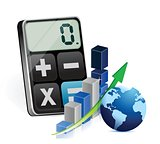 international business graph and modern calculator