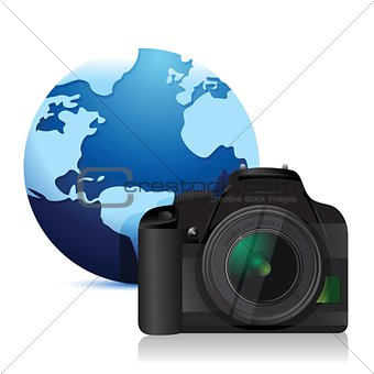 camera and a international globe