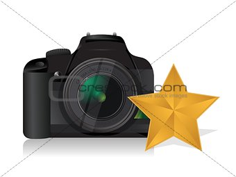 camera gold star review concept