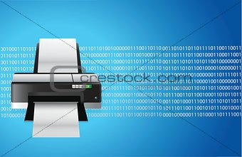 printer blue graphic
