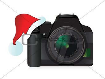 camera and christmas hat gift concept