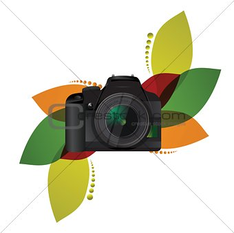 camera floral illustration design