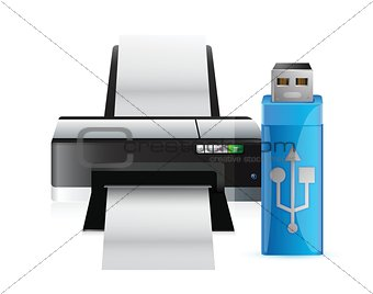 printer and usb stick