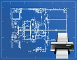 printer blueprint illustration