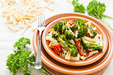Pasta with vegetables. Italian food