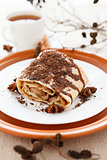 Apple pie with tea decorated grated chocolate