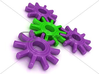 4 business colored gear on a white background