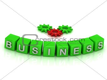 Business text on color cubes and gears