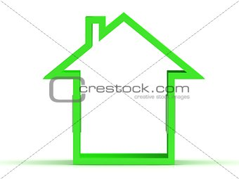 3d render of green house icon with window