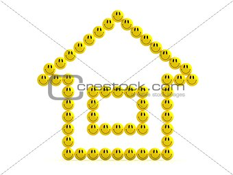 3D illustration of the house of fun smilies