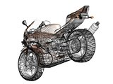 3D illustration of a concept motorcycle 