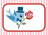 bird and rose flower valentine card