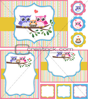 baby shower bird card set