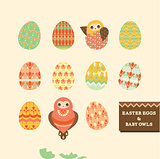 Happy easter eggs & baby owls