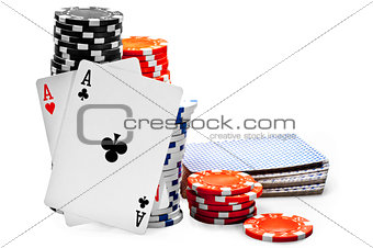 Pair of aces and poker chips