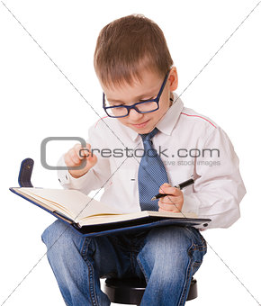 Planning clever kid on white background