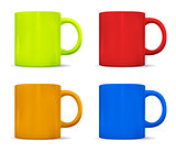 Photorealistic colorful cups