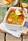 Salmon and Brussels Sprout Bake